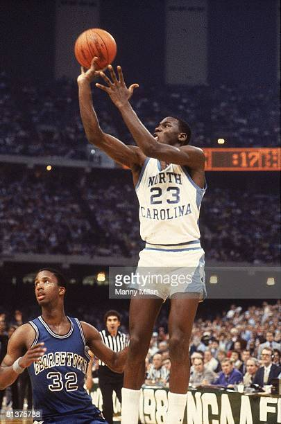 College Basketball NCAA Final Four North Carolina Michael Jordan in action making game winning shot vs Georgetown New Orleans LA 3/29/1982