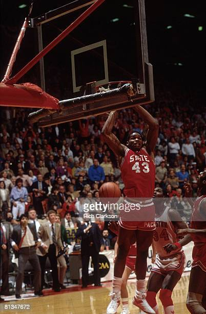 College Basketball: NCAA Final Four, North Carolina State Lorenzo Charles in action, making game winning dunk vs Houston, Albuquerque, NM 4/4/1983