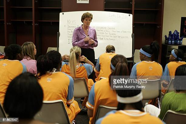 College Basketball NCAA Final Four Tennessee coach Pat Summitt with white board during team meeting before game vs Michigan State Indianapolis IN...