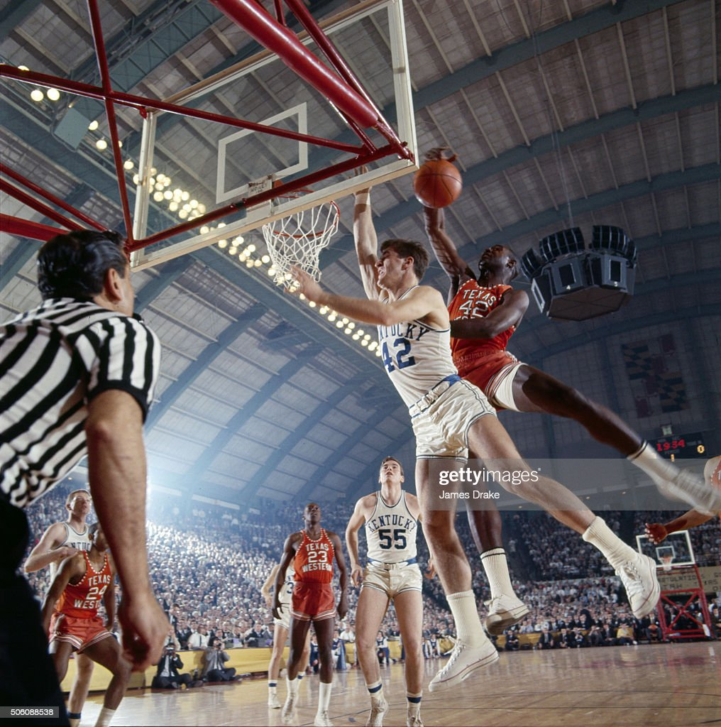 Texas Western Harry Flournoy (44) in action, rebound vs Kentucky Pat Riley (42) at Cole Field House James Drake X11505 TK2 )