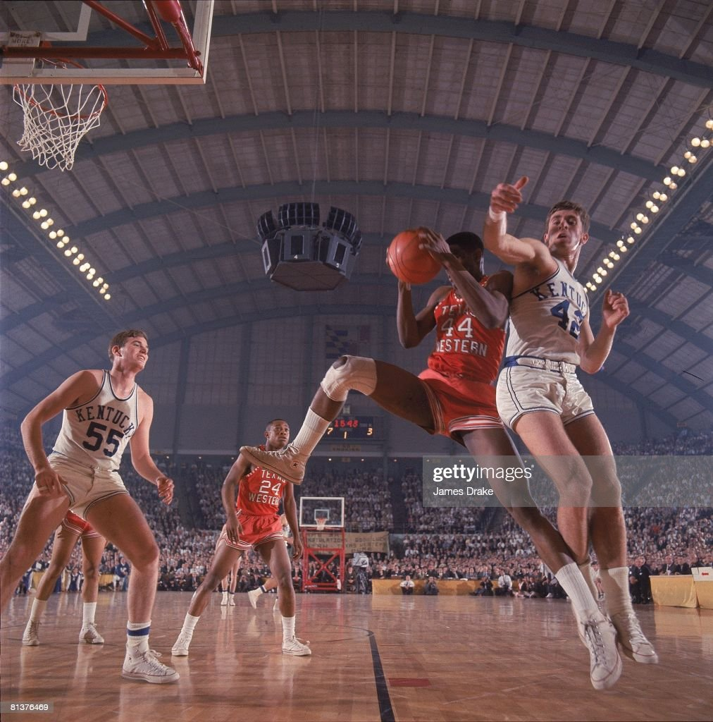 NCAA Final Four, Texas Western (UTEP) Harry Flournoy (44) in action, getting rebound vs Kentucky Pat Riley (42), Cover, College Park, MD 3/19/1966