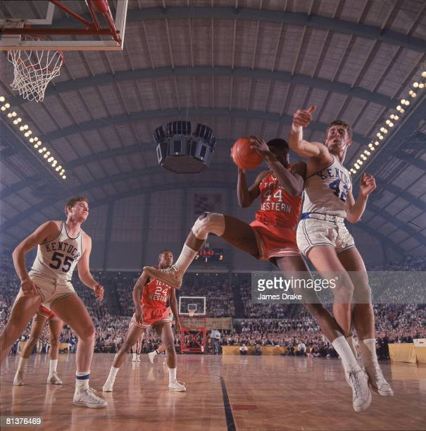 College Basketball NCAA Final Four Texas Western Harry Flournoy in action getting rebound vs Kentucky Pat Riley Cover College Park MD 3/19/1966