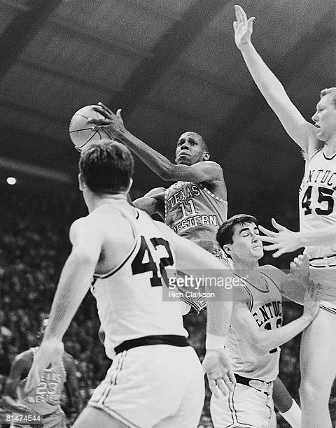 College Basketball NCAA Final Four Texas Western Willie Cager in action layup vs Kentucky College Park MD 3/19/1966