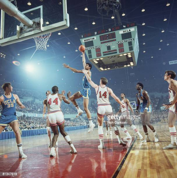 College Basketball NCAA Final Four UCLA Lew Alcindor in action taking shot vs Houston Ken Spain and Bob Hall Cover Los Angeles CA 3/22/1968