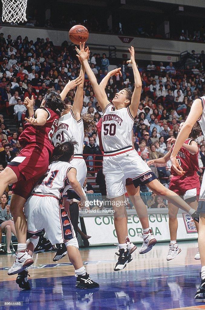 UConn Rebecca Lobo (50) in action, rebound vs Stanford. Minneapolis, MN 4/1/1995