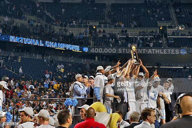 NCAA Final Four UNC victorious with NCAA National Championship trophy after win vs Michigan State at Ford Field Cover Detroit MI 4/6/2009 CREDIT John...