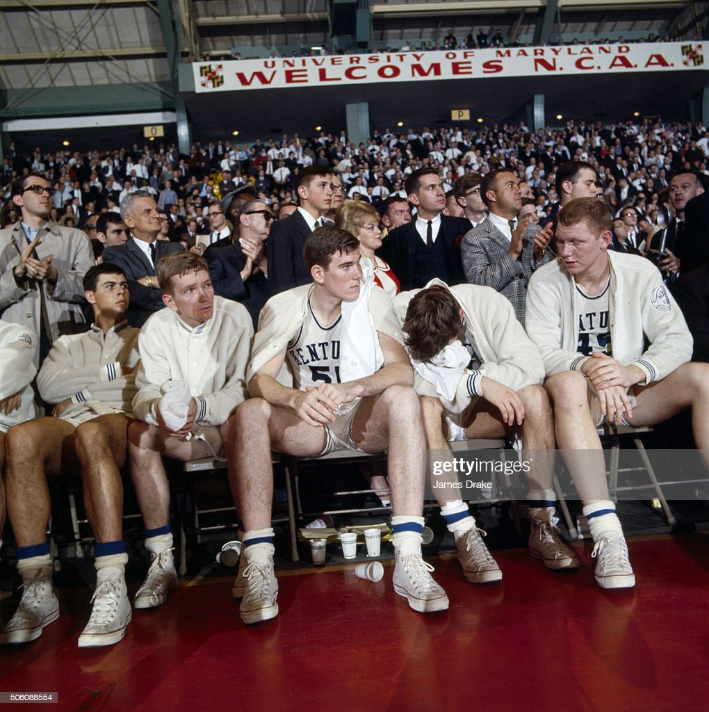 View of Kentucky Thad Jaracz (55) and teammates upset on sidelines bench during game vs Texas Western at Cole Field House James Drake X11505 R7 )