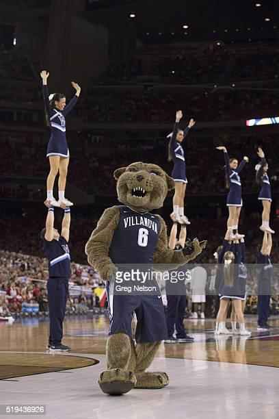 NCAA Final Four Villanova mascot Will D Cat with cheerleaders on court during game vs Oklahoma at NRG Stadium Houston TX CREDIT Greg Nelson