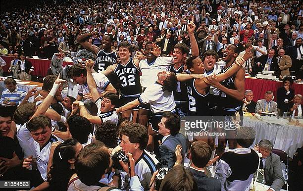 College Basketball: NCAA Final Four, Villanova team victorious after winning game vs Georgetown, Lexington, KY 4/1/1985