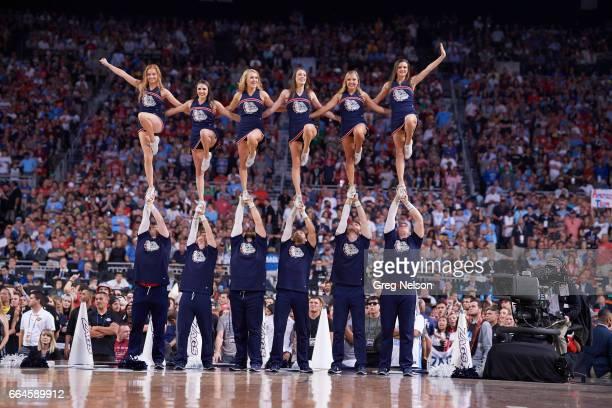 NCAA Finals Gonzaga cheerleaders on court during game vs North Carolina at University of Phoenix Stadium Glendale AZ CREDIT Greg Nelson