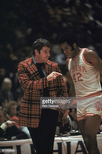 College Basketball NCAA finals Indiana coach Bobby Knight with Scott May on sidelines during game vs Michigan Philadelphia PA 3/29/1976