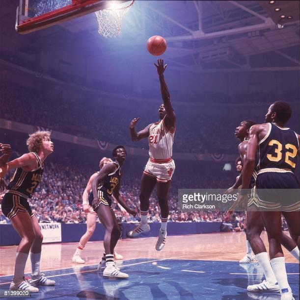 College Basketball NCAA finals Indiana Quinn Buckner in action taking layup vs Michigan Philadelphia PA 3/29/1976