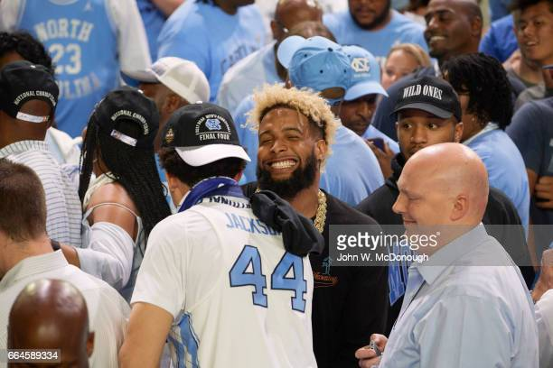 NCAA Finals New York Giants Odell Beckham Jr with North Carolina Justin Jackson after winning game vs Gonzaga at University of Phoenix Stadium...