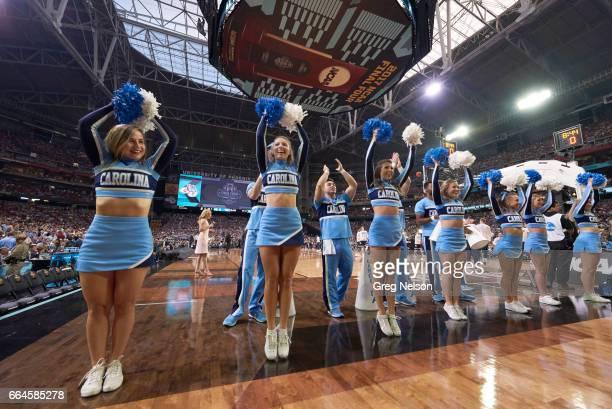 NCAA Finals North Carolina cheerleaders on court during game vs Gonzaga at University of Phoenix Stadium Glendale AZ CREDIT Greg Nelson