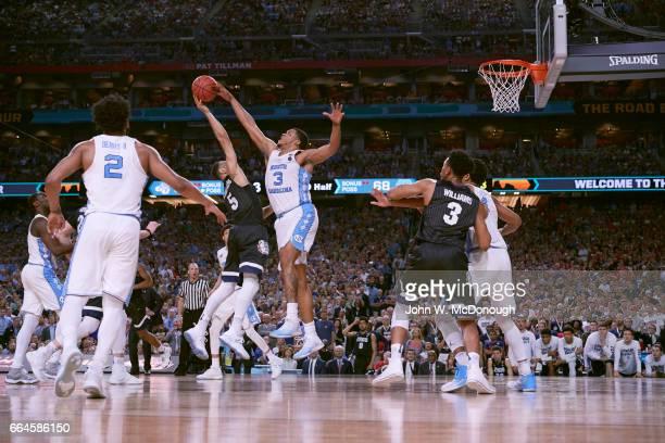 NCAA Finals North Carolina Kennedy Meeks in action defense vs Gonzaga Nigel WilliamsGoss at University of Phoenix Stadium Glendale AZ CREDIT John W...