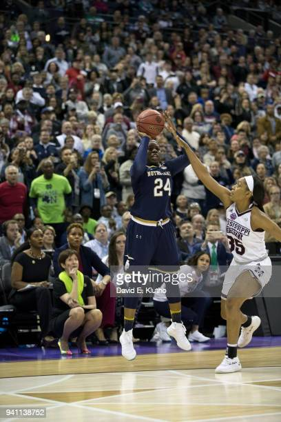 NCAA Finals Notre Dame Arike Ogunbowale in action three point shot vs Mississippi State at Nationwide Arena Ogunbowale hits game winning buzzer...