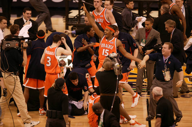 9c874776d Syracuse Carmelo Anthony (15) victorious on court after winning game vs  Kansas at Louisiana