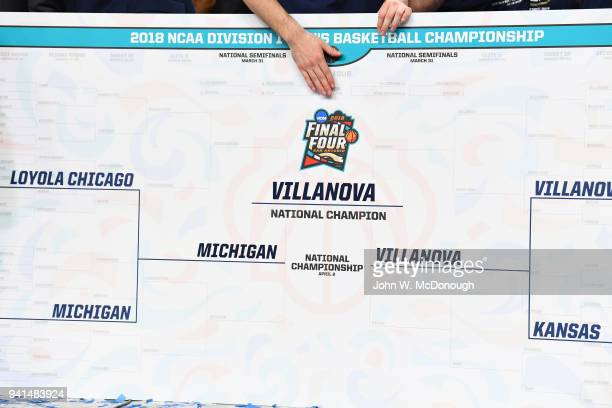 NCAA Finals View of oversized bracket showing that Villanova is the National Champion after winning game vs Michigan at Alamodome San Antonio TX...