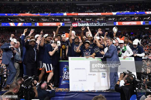 Finals: View of Virginia team victorious on stage after winning game vs Texas Tech at U.S. Bank Stadium. Minneapolis, MN 4/8/2019 CREDIT: Greg Nelson