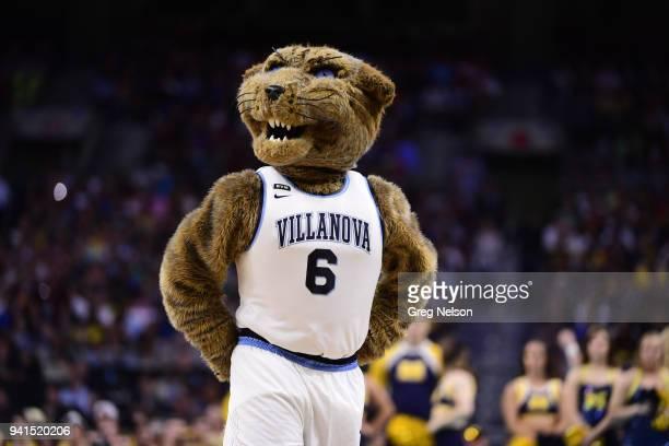 NCAA Finals Villanova mascot Will D Cat during game vs Michigan at Alamodome San Antonio TX CREDIT Greg Nelson