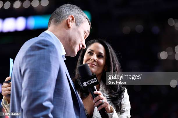 Finals: Virginia coach Tony Bennett during interview with CBS sideline reporter Tracy Wolfson at halftime vs Texas Tech at U.S. Bank Stadium. Media....