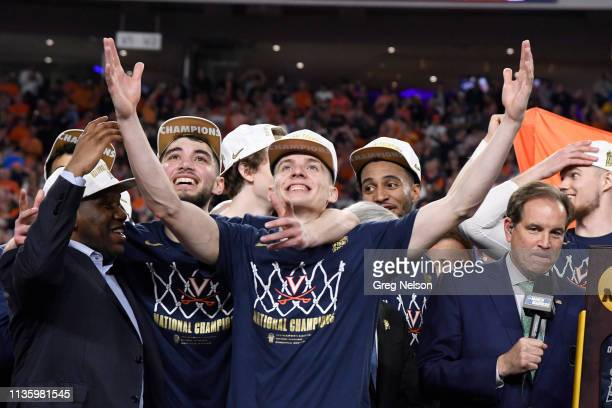 Finals: Virginia Kyle Guy victorious after winning game vs Texas Tech at U.S. Bank Stadium. Minneapolis, MN 4/8/2019 CREDIT: Greg Nelson