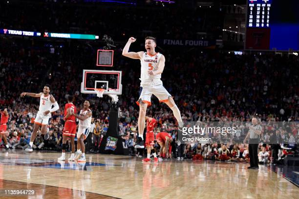 Finals: Virginia Kyle Guy victorious on court after winning game vs Texas Tech at U.S. Bank Stadium. Minneapolis, MN 4/8/2019 CREDIT: Greg Nelson