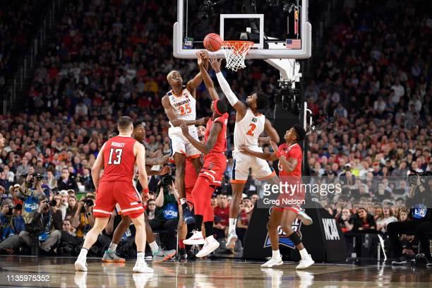 Finals: Virginia Mamadi Diakite and Braxton Key in action, defense Texas Tech Tariq Owens at U.S. Bank Stadium. Minneapolis, MN 4/8/2019 CREDIT: Greg...