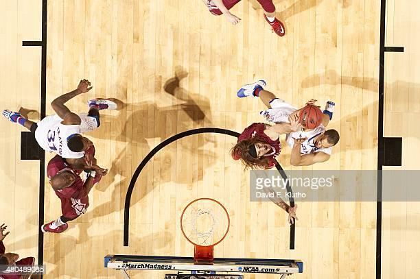 NCAA Playoffs Aerial view of Kansas Perry Ellis in action vs Eastern Kentucky Eric Stutz at Scottrade Center St Louis MO CREDIT David E Klutho