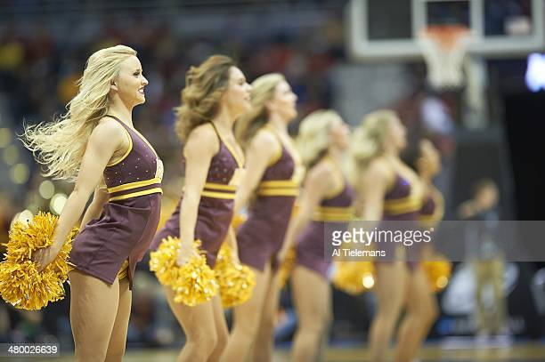 NCAA Playoffs Arizona State cheerleaders performing on court during game vs Texas at BMO Harris Bradley Center Milwaukee WI CREDIT Al Tielemans