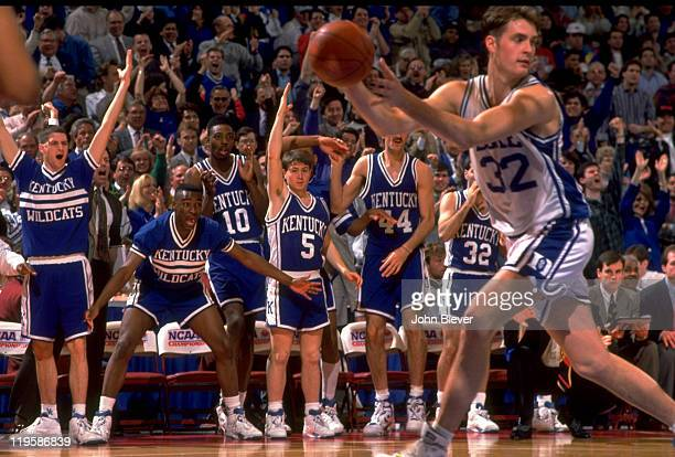 NCAA Playoffs Duke Christian Laettner in action in front of Kentucky bench during game at The Spectrum Philadelphia PA CREDIT John Biever