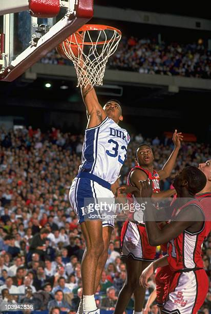 NCAA Playoffs Duke Grant Hill in action dunk vs St John's University Pontiac MI 3/22/1991 CREDIT John Biever