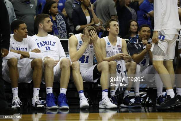 NCAA Playoffs Duke Jack White looking upset on bench during game vs Michigan State at Capital One Arena Washington DC CREDIT Simon Bruty