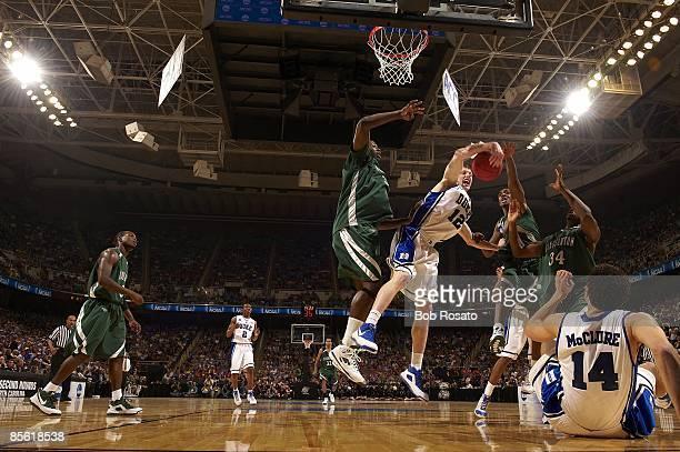 NCAA Playoffs Duke Kyle Singler in action getting rebound vs Binghamton Greensboro NC 3/19/2009 CREDIT Bob Rosato