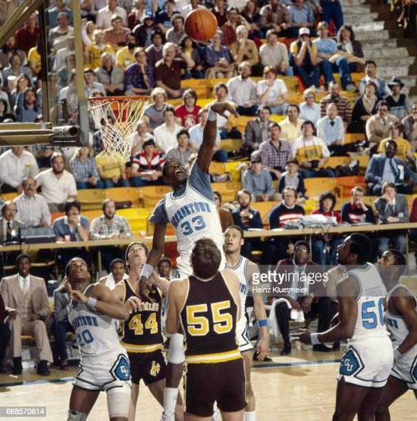 Playoffs: Georgetown Patrick Ewing in action, defense vs Wyoming at Smith Spectrum. Logan, UT 3/13/1982 CREDIT: Heinz Kluetmeier