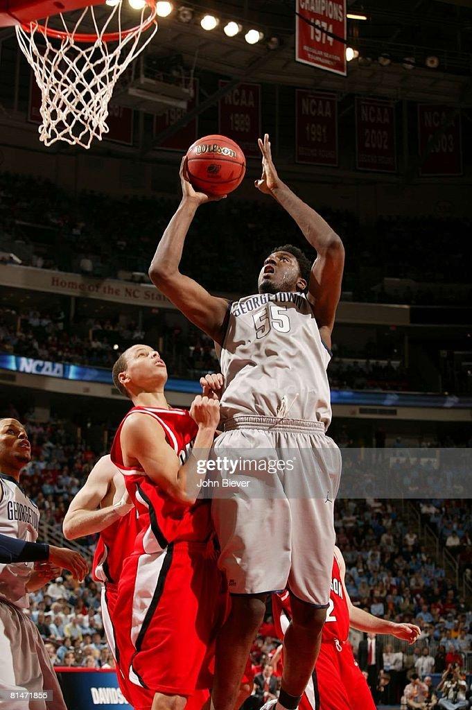 NCAA Playoffs, Georgetown Roy Hibbert (55) in action, taking shot vs Davidson, Raleigh, NC 3/23/2008