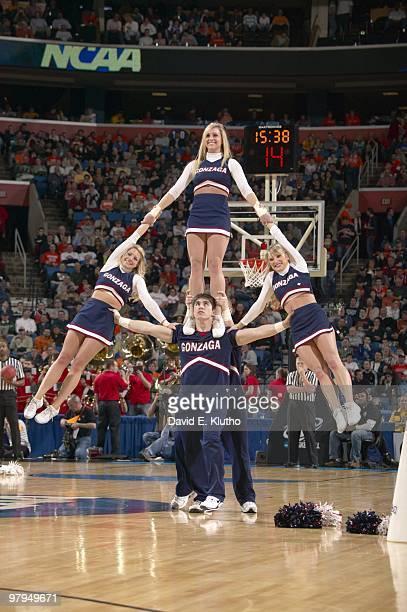 NCAA Playoffs Gonzaga cheerleaders performing pyramid on court during game vs Florida State Buffalo NY 3/19/2010 CREDIT David E Klutho