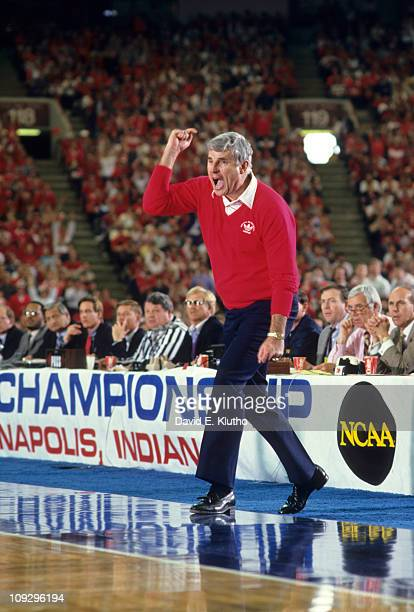 NCAA Playoffs Indiana coach Bob Knight yelling on sidelines during game vs Auburn at Hoosier Dome CoverIndianapolis IN 3/14/1987CREDIT David E Klutho
