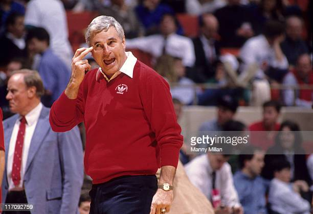 NCAA Playoffs Indiana head coach Bobby Knight during game vs California at Hartford Civic Center Hartford CT CREDIT Manny Millan