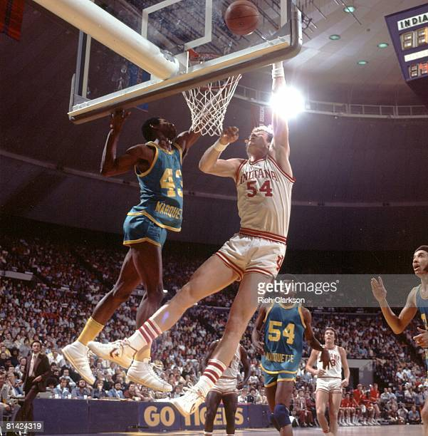 College Basketball NCAA Playoffs Indiana Kent Benson in action taking shot vs Marquette Earl Tatum Cover Baton Rouge LA 3/21/1976