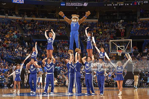 NCAA Playoffs Kentucky cheerleaders and Kentucky Wildcats mascot The Wildcat forming pyramid on court during game vs Kansas State at Scottrade Center...