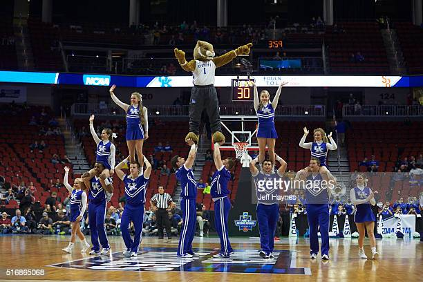 NCAA Playoffs Kentucky cheerleaders and mascot The Wildcat forming standing pyramid on court during game vs Stony Brook at Wells Fargo Arena Des...