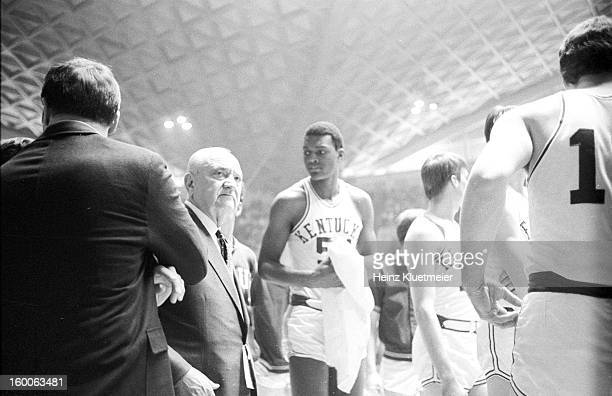NCAA Playoffs Kentucky Tom Payne with coach Adolph Rupp during game vs Western Kentucky at Stegeman Coliseum Payne is first African American to play...