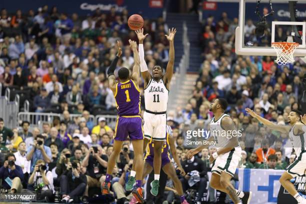 NCAA Playoffs LSU Javonte Smart in action shot vs Michigan State Aaron Henry at Capital One Arena Washington DC CREDIT Simon Bruty
