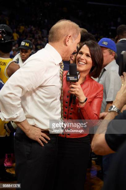 NCAA Playoffs Michigan coach John Beilein during interview with TBS sideline reporter Dana Jacobson after winning game vs Florida State at Staples...