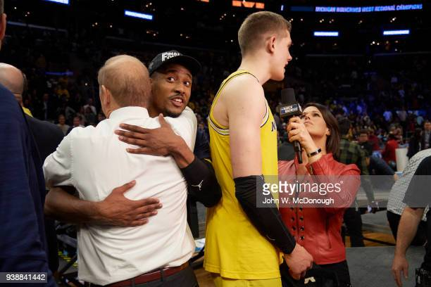 NCAA Playoffs Michigan Moritz Wagner during interview with TBS sideline reporter Dana Jacobson after winning game vs Florida State at Staples Center...