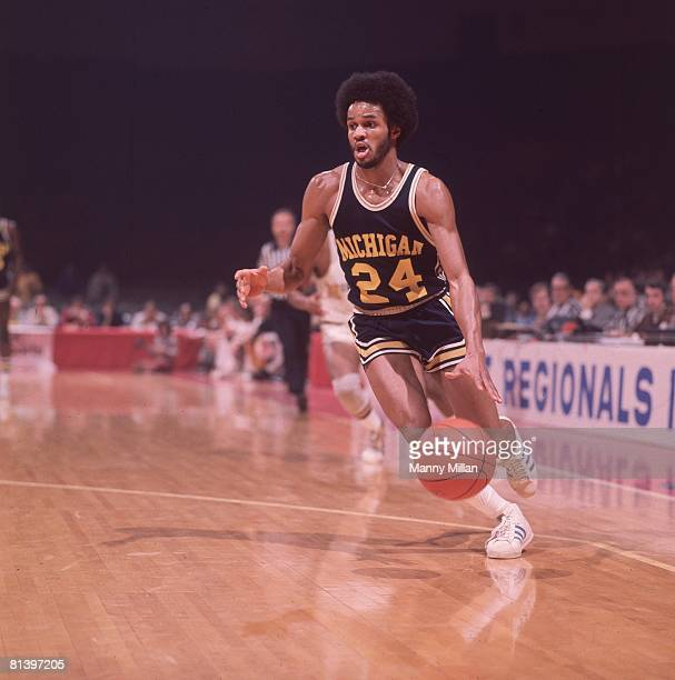 College Basketball NCAA Playoffs Michigan Rickey Green in action vs Missouri Cover Louisville KY 3/20/1976