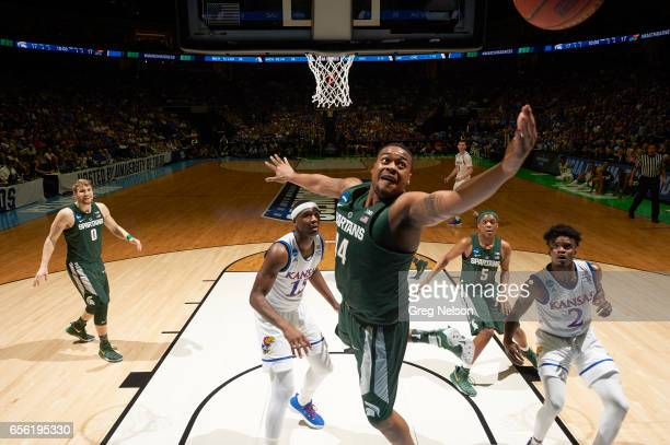 NCAA Playoffs Michigan State Nick Ward in action vs Kansas at BOK Center Tulsa OK CREDIT Greg Nelson
