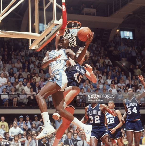 NCAA Playoffs North Carolina Michael Jordan in action shot vs Villanova Raleigh NC 3/20/1982 CREDIT Manny Millan