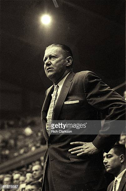College Basketball: NCAA playoffs, Oklahoma State coach Hank Iba during game vs Arkansas, Lawrence, KS 3/15/1958